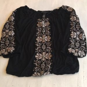 Black peasant top with beads and embroidery